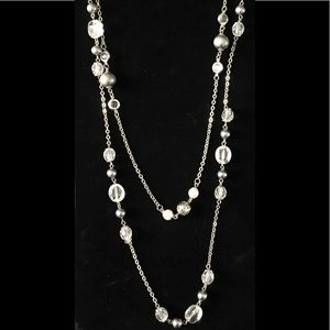 Jewelry - Silver two strand Krystal and Beat necklace
